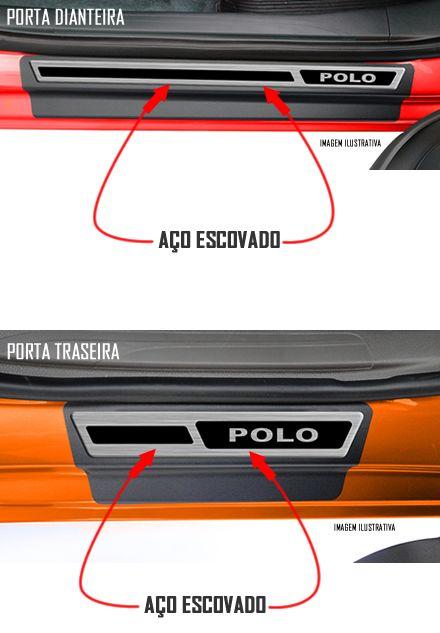 Jogo Soleira Premium Elegance Vw Polo 2018 - 4 Portas ( Vinil + Resinada 8 Peças )
