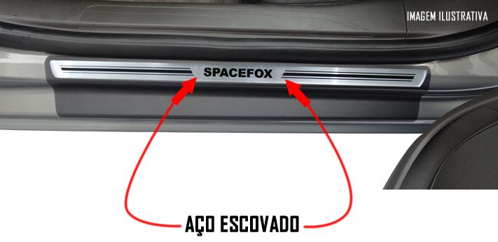 Jogo Soleira Premium Elegance Vw SpaceFox 2007 2008 2009 2010 2011 2012 2013 2014 2015 2016 2017 2018 - 4 Portas ( Vinil + Resinada 8 Peças )
