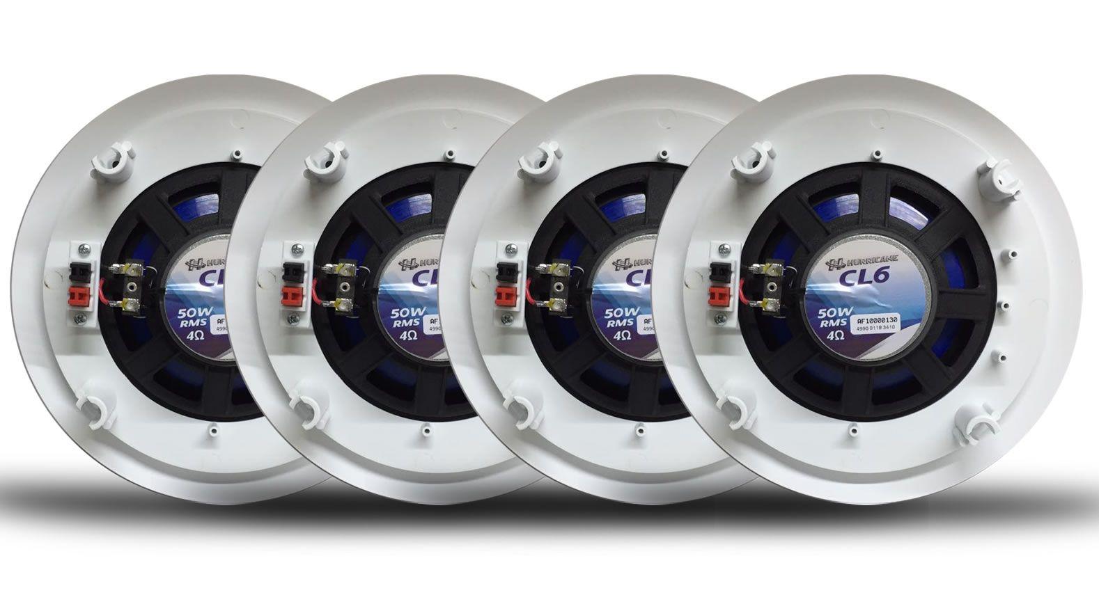 """Kit 4 Arandelas Redonda Teto Com Alto Falante Hurricane CL6 6"""" Polegadas - Som Ambiente Gesso"""