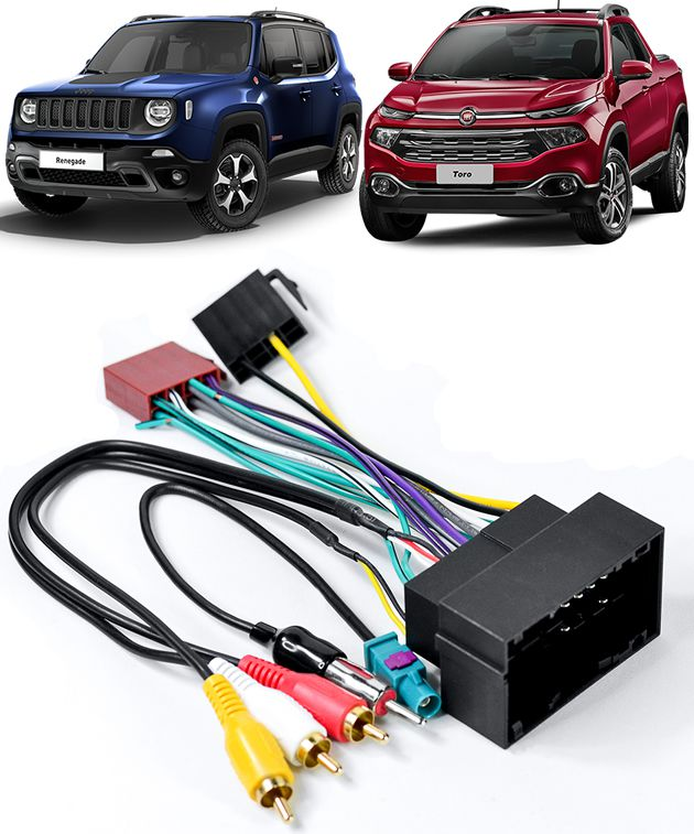Kit Chicote de Ligação + Chicote Adaptador de Antena Jeep Renegade 2015 2016 2017 2018 Fiat Toro 2016 2017 2018 Novo Bravo 2015 2016 2017 2018