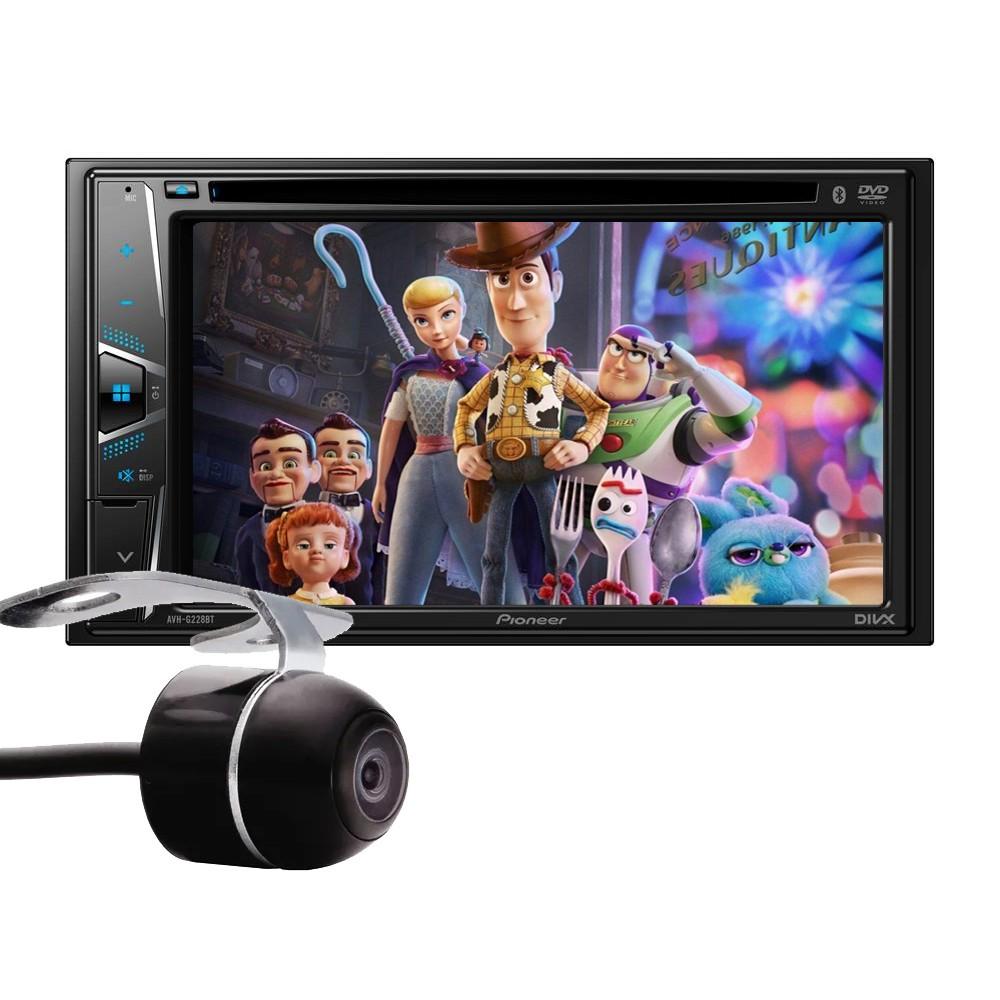 Kit Combo DVD Pioneer AVH-G228BT + Moldura de Painel 2 Din + Câmera de Ré Nissan Kicks Versão S