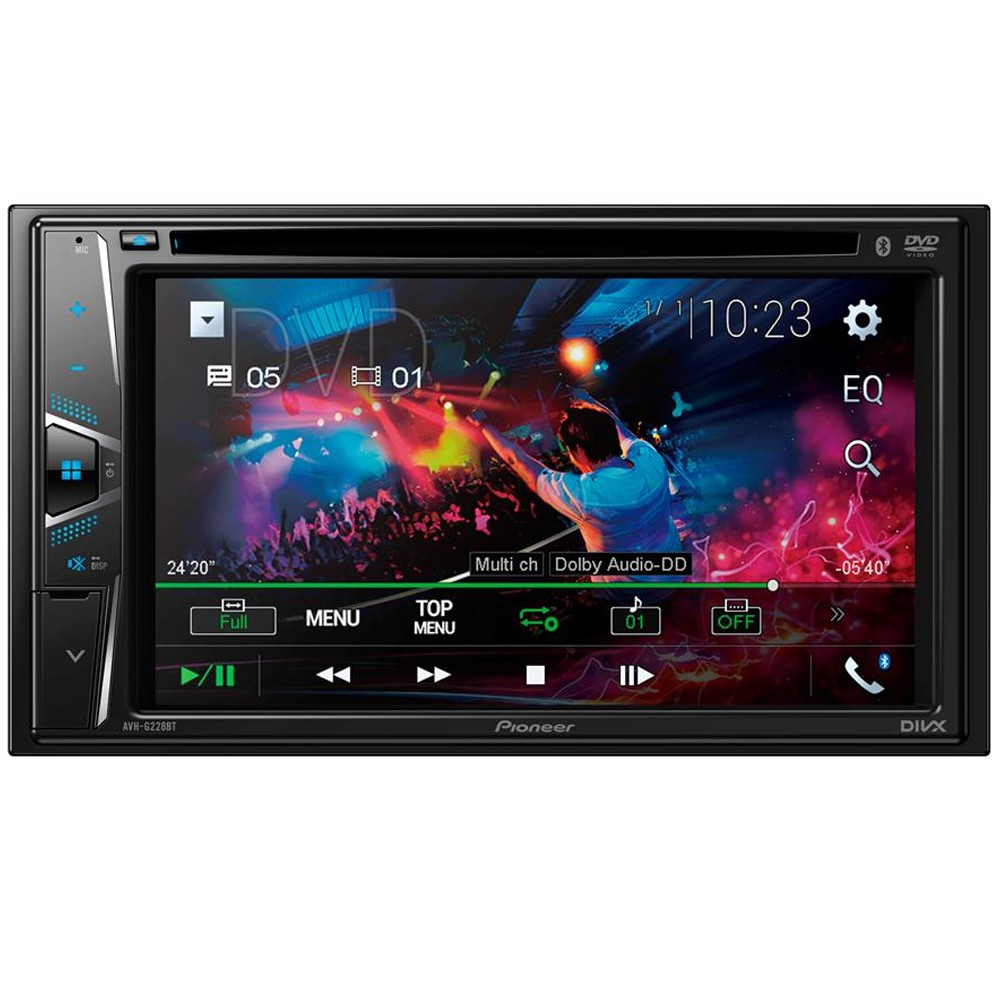 Kit Combo DVD Pioneer AVH-G228BT + Moldura de Painel 2 Din + Chicote + Câmera de Ré Toyota Corolla GLI 2015 2016 2017
