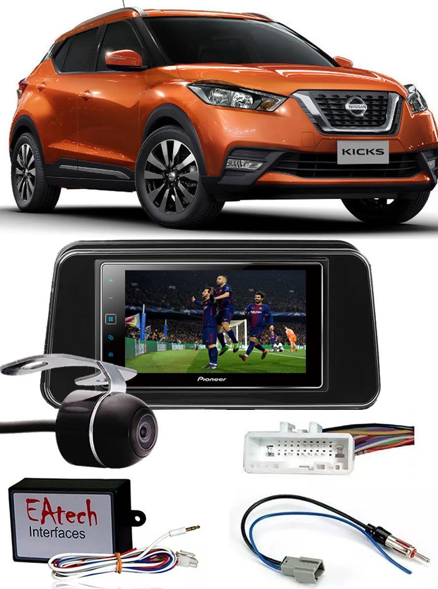Kit Combo DVD Pioneer SPH-DA138TV + Moldura de Painel 2 Din + Câmera de Ré Nissan Kicks Versão S