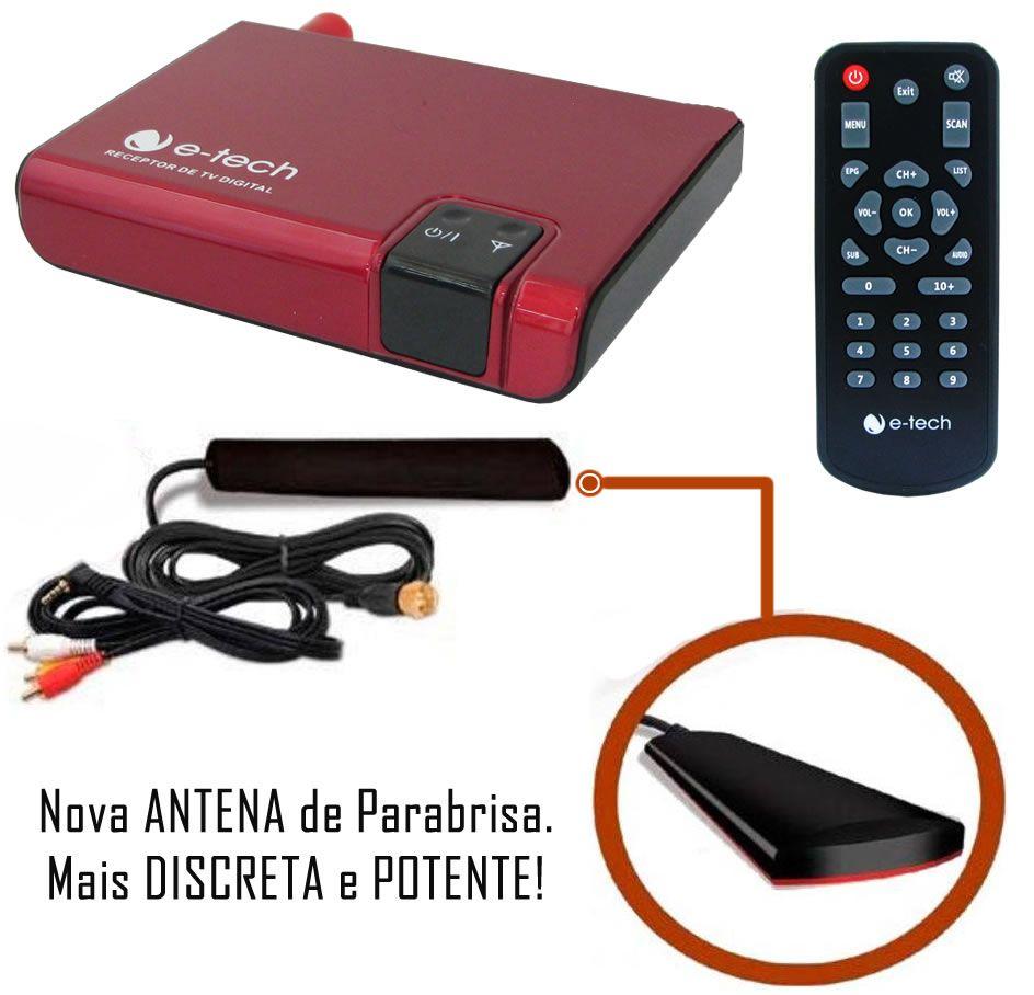 Kit Combo DVD Player E-Tech + Moldura de Painel 2 Din + Chicote + Câmera de Ré + Sintonizador TV Digital E-Tech Fiat Toro