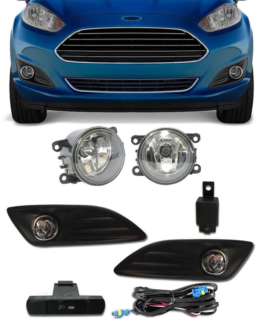 Kit Farol de Milha Neblina Ford New Fiesta 2013 2014 2015 2016 2017 Botão Painel