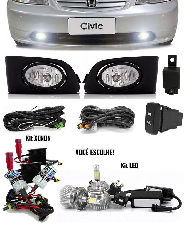 Kit Farol de Milha Neblina Honda Civic 2001 2002 2003 2004 - Interruptor Modelo Original + Kit Xenon 6000K / 8000K ou Kit Lâmpada Super LED 6000K