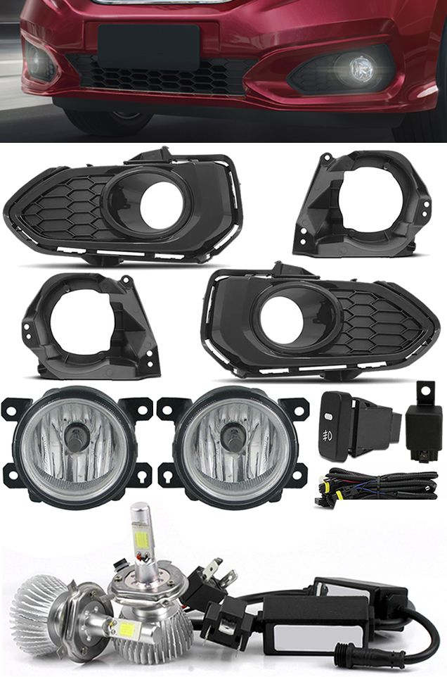 Kit Farol de Milha Neblina Honda Fit 2018 2019 + Kit Lâmpada Super LED 6000K