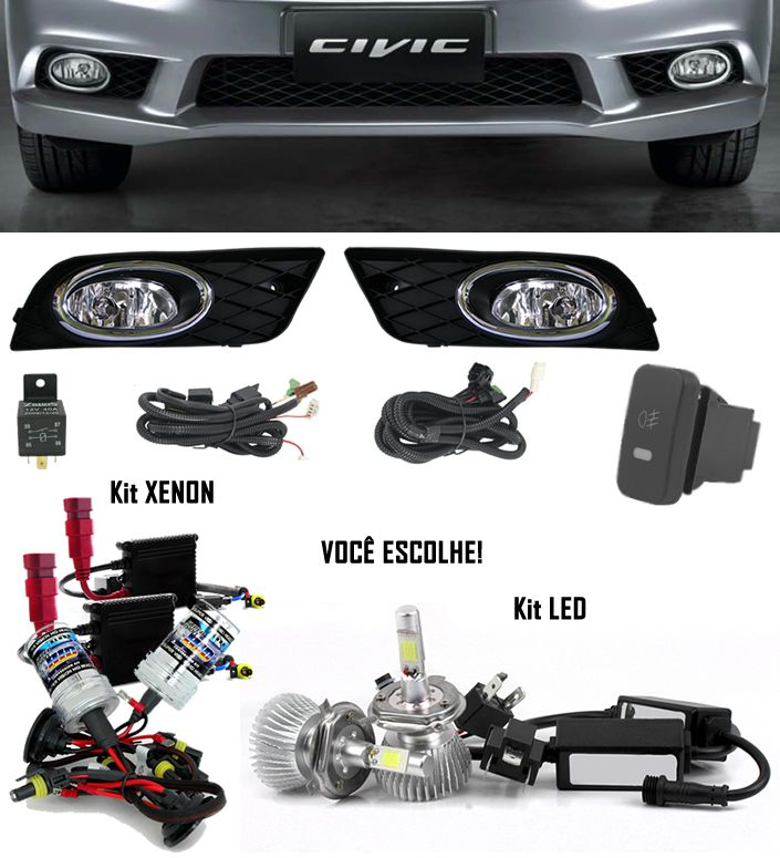 Kit Farol de Milha Neblina Honda New Civic 2012 / 2013 / 2014 - Interruptor Modelo Original + Kit Xenon 6000K / 8000K ou Kit Lâmpada Super LED 6000K