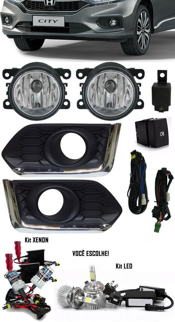 Kit Farol de Milha Neblina Honda Novo City 2017 2018 - Interruptor + Moldura Com Aro Cromo + Kit Xenon 6000K / 8000K ou Kit Lâmpada Super LED 6000K