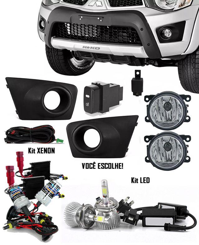 Kit Farol de Milha Neblina Mitsubishi L200 Triton 2011 2012 - Interruptor Modelo Original + Kit Xenon 6000K / 8000K ou Kit Lâmpada Super LED 6000K