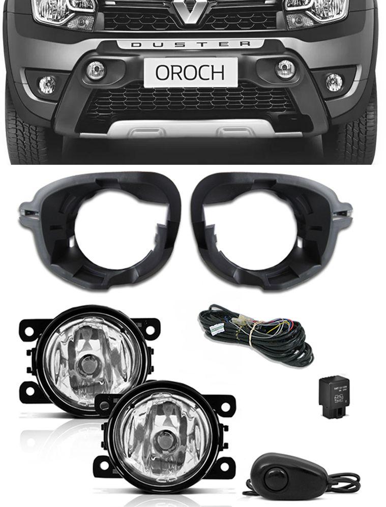 Kit Farol de Milha Neblina Renault Oroch + Base Para Fixação - Interruptor Alternativo