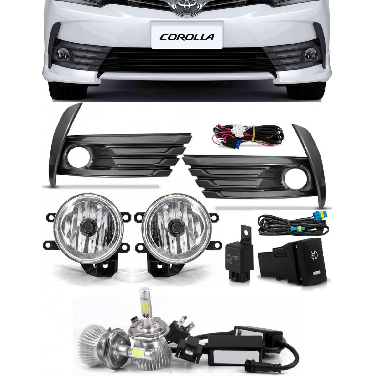 Kit Farol de Milha Neblina Toyota Corolla 2017 2018 2019 - Interruptor Modelo Original + Kit Lâmpada Super LED Headlight H11 6000K 12V e 24V 32W 2200LM