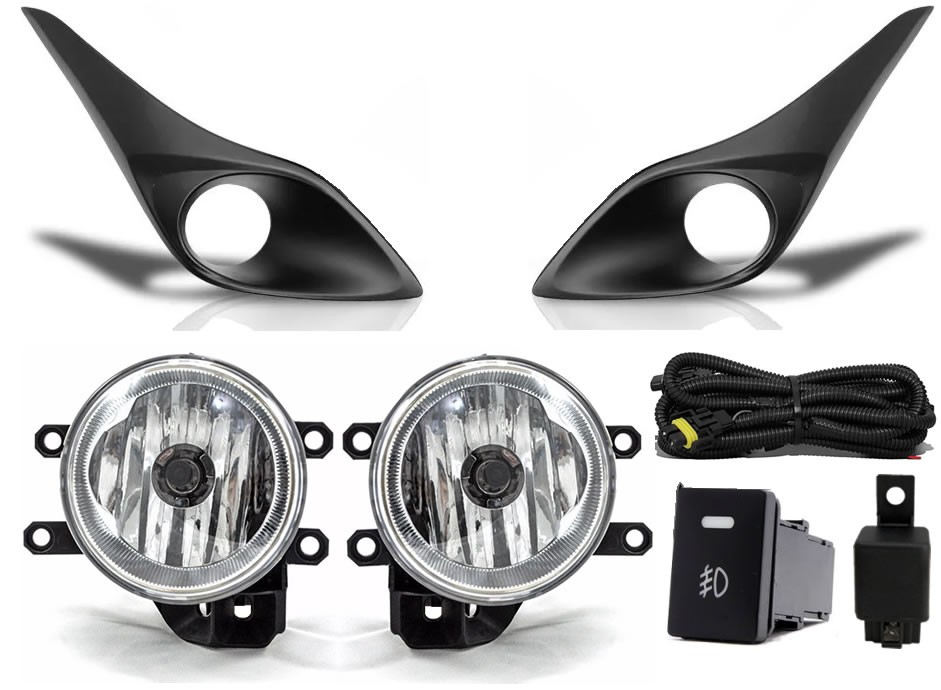 Kit Farol de Milha Neblina Toyota Yaris Hatch e Sedan Com LED DRL + Kit Lâmpada Super LED 6000K