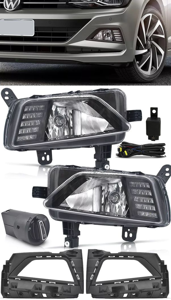 Kit Farol de Milha Neblina Vw Virtus e Novo Polo 2018 2019 Com LED Daylight - DRL