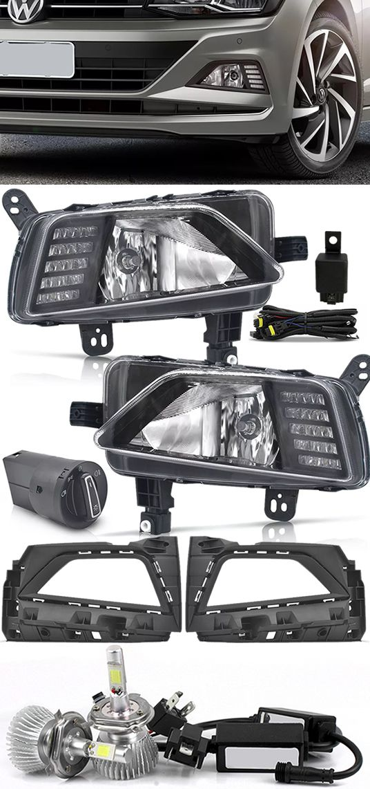 Kit Farol de Milha Neblina Vw Virtus e Novo Polo 2018 2019 Com LED Daylight - DRL + Kit Lâmpada Super LED 6000K