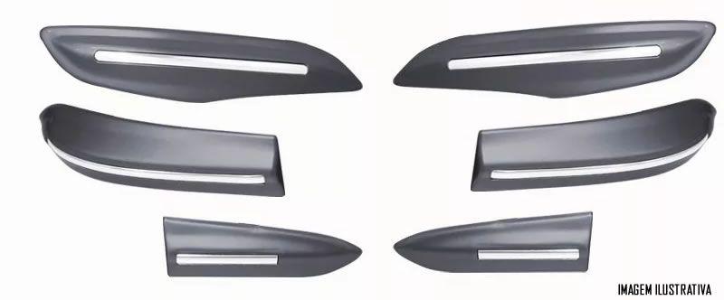 Kit Jogo Friso Lateral Modelo Original + Jogo Protetor Parachoque Dianteiro e Traseiro Honda HRV 2015 2016 2017 2018 - Cor Original
