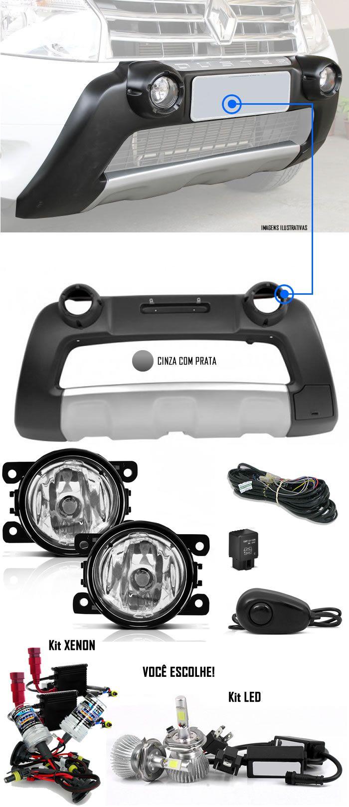 Kit Overbumper Frontal TG Poli + Kit Farol de Milha Neblina Renault Duster 2012 2013 2014 + Kit Xenon 6000K / 8000K ou Kit Lâmpada Super LED 6000K