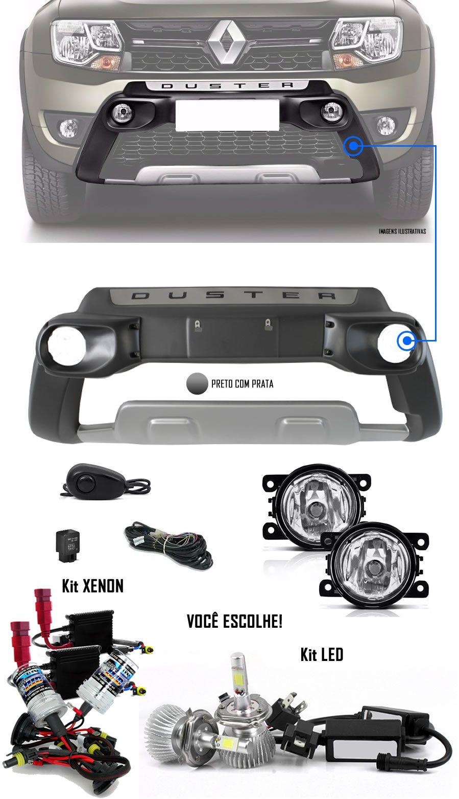 Kit Overbumper Frontal TG Poli + Kit Farol de Milha Neblina Renault Duster e Oroch 2015 2016 2017 2018 2019 2020 + Kit Xenon 6000K / 8000K ou Kit Lâmpada Super LED 6000K