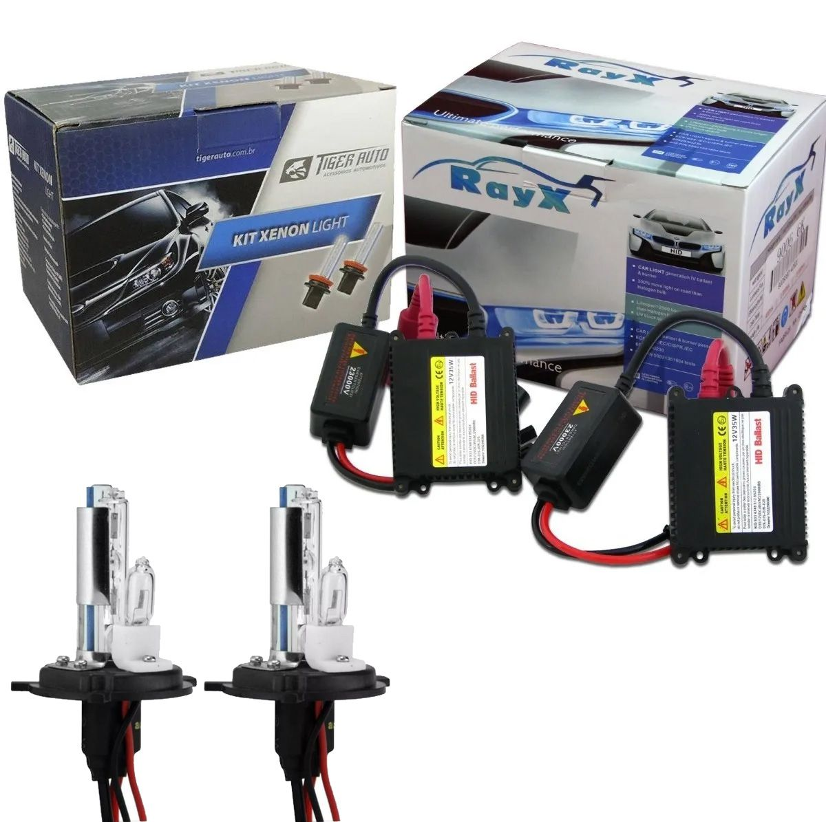 Kit Xenon H4/2 8000K Com Reator Digital HID