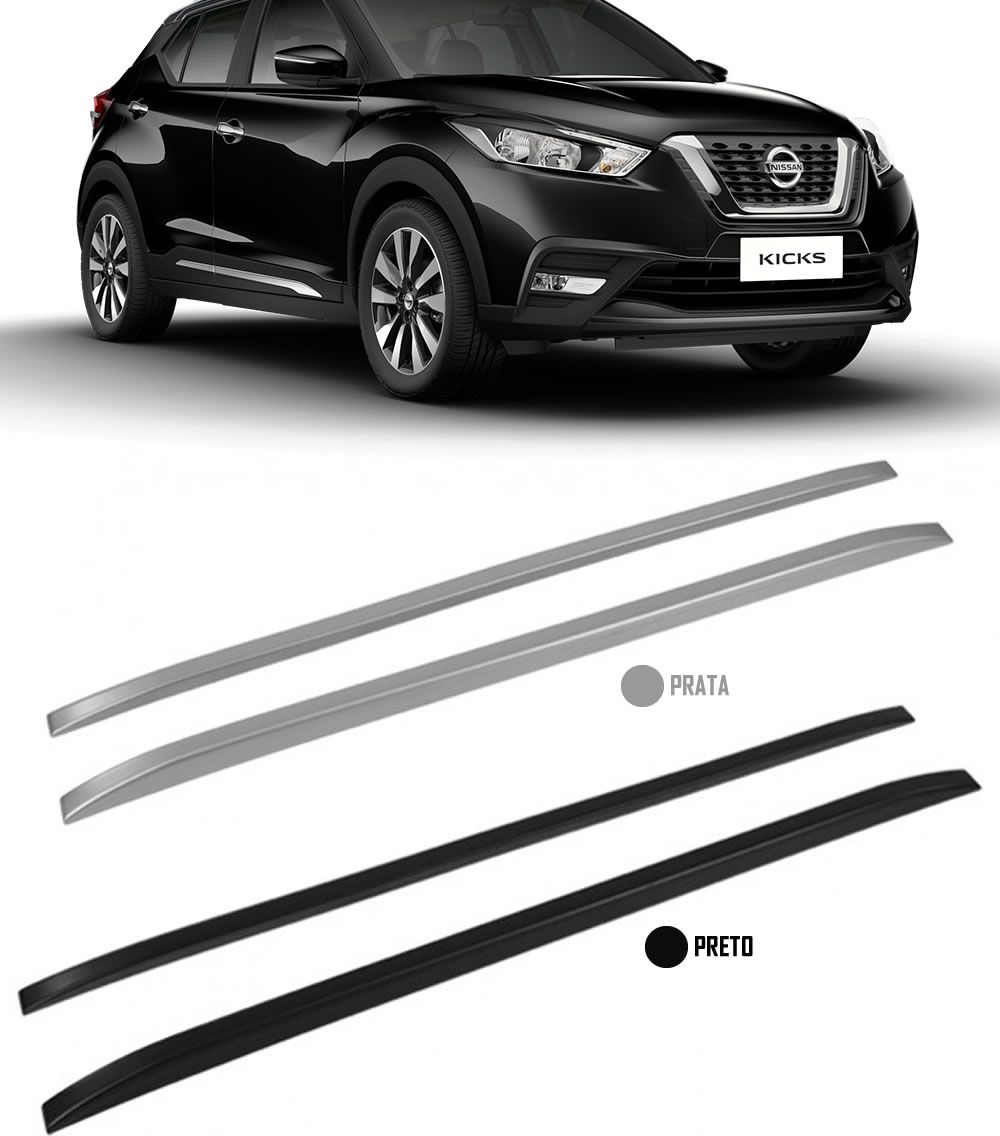 Longarina de Teto Decorativo Nissan Kicks TG Poli 1,60 metros - Preto ou Prata