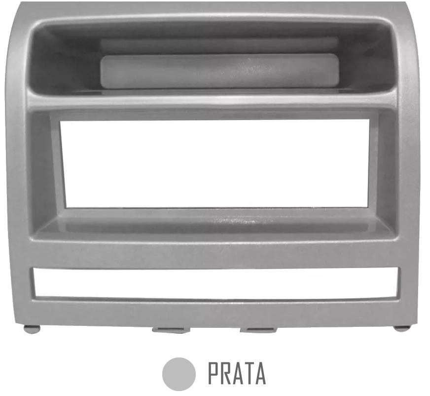 Moldura 1 Din Fiat Idea Palio Strada Siena CD / MP3 DVD - Cinza Kiron ou Prata