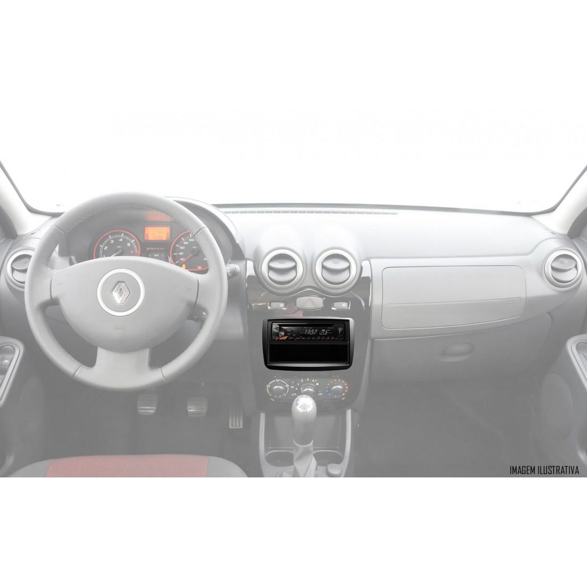 Moldura De Painel 1 Din Renault Kwid Oroch Duster Sandero Logan Automatico 2012  Em Diante + Suportes De Fixação Laterais - Preto