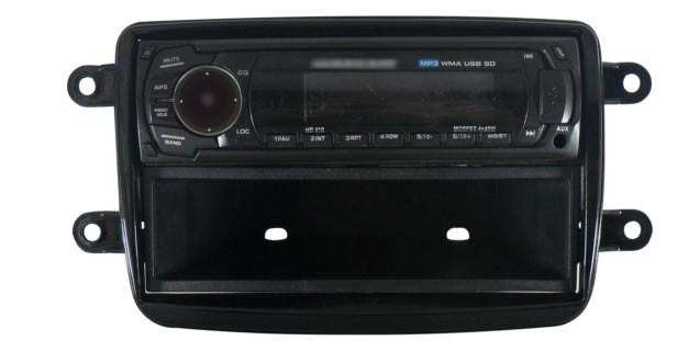 Moldura De Painel 1 Din Renault Kwid Oroch Duster Sandero Logan Automatico 2012 Em Diante + Suportes De Fixação Laterais - Black Piano