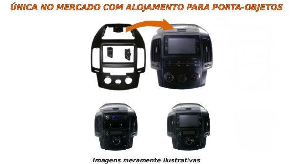 Moldura De Painel 1 e 2 Din Hyundai I30 2008 2009 2010 2011 2012 e I30 CW 2010 2011 2012 - Ar Condicionado Analógico - Para CD DVD MP5 2 Din