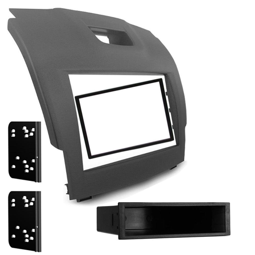Moldura de Painel 1 e 2 Din S10 Trailblazer 2012 2013 2014 2015 S-10 + Interface Comando de Volante - Cinza