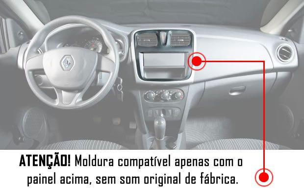 Moldura De Painel 2 Din + Chicote Adaptador de Antena Renault Sandero e Logan 2015 2016 2017 2018 2019 + Suportes De Fixação Laterais - Sem Som Original de Fábrica