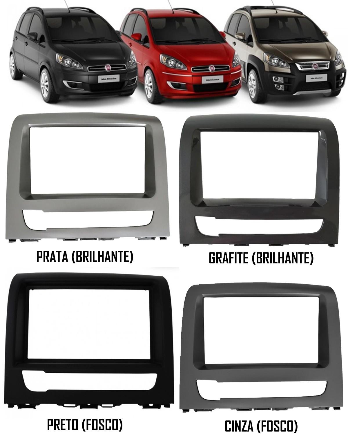 Moldura De Painel 2 Din Fiat Idea 2012 2013 2014 2015 2016 Para Cd Dvd 2 Dins