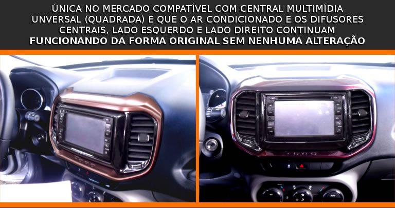 Moldura De Painel 2 Din Fiat Toro 2016 2017 2018 Para Cd Dvd 2 Dins - Padrão Original