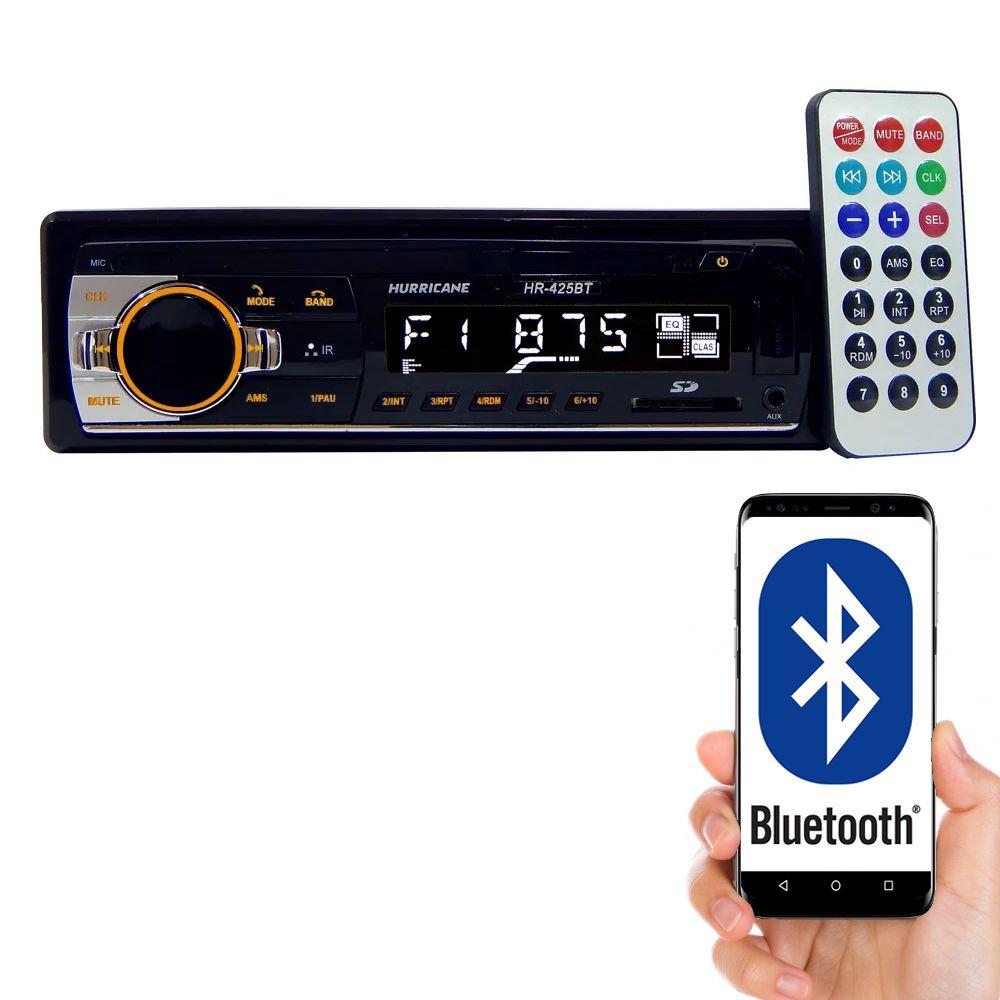 MP3 Player Hurricane HR-425BT com Bluetooth, Entrada USB, Entrada Auxiliar,  Entrada Cartão de Memória e Controle Remoto
