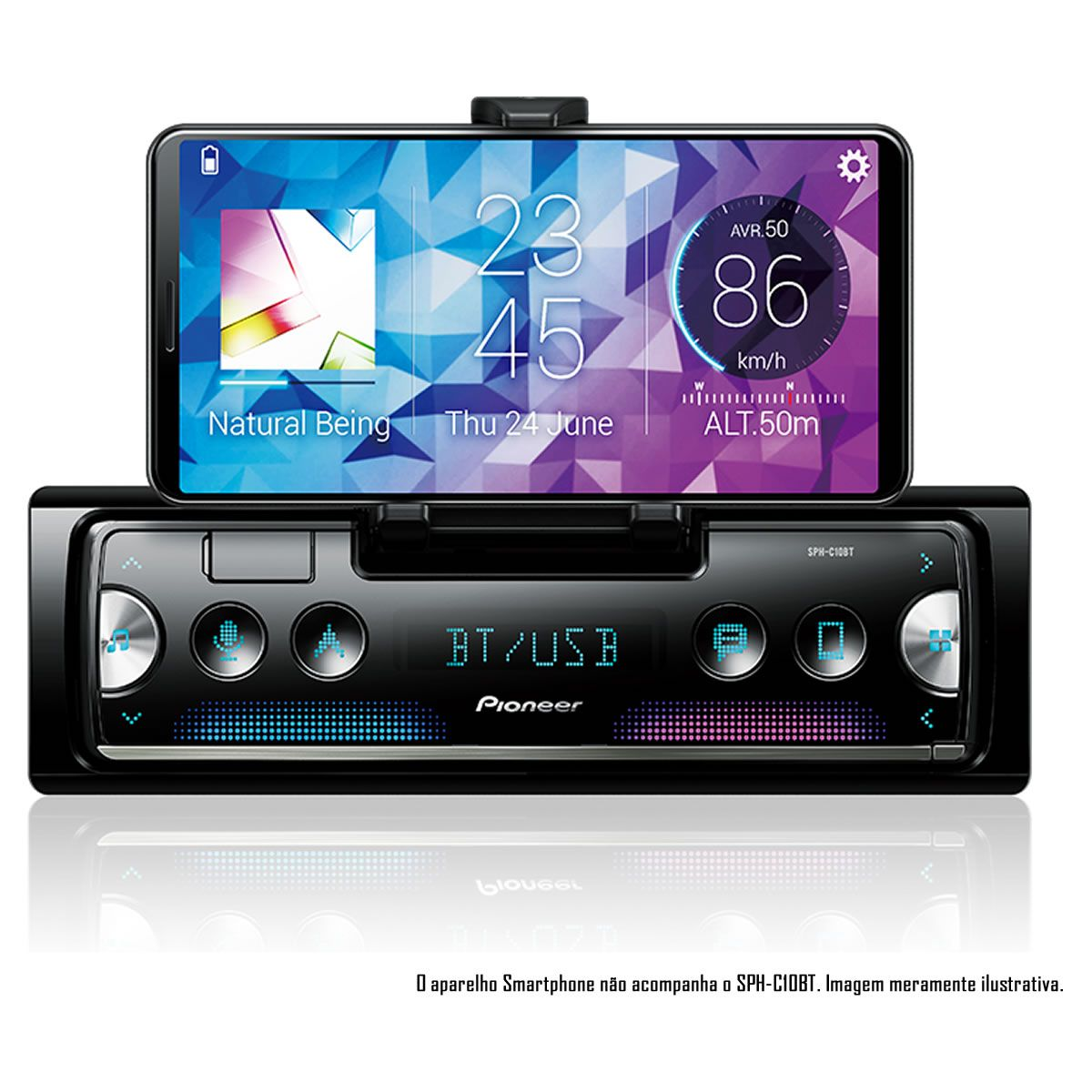MP3 Player Smartphone Receiver Pioneer 1 Din SPH-C10BT USB Bluetooth MP3