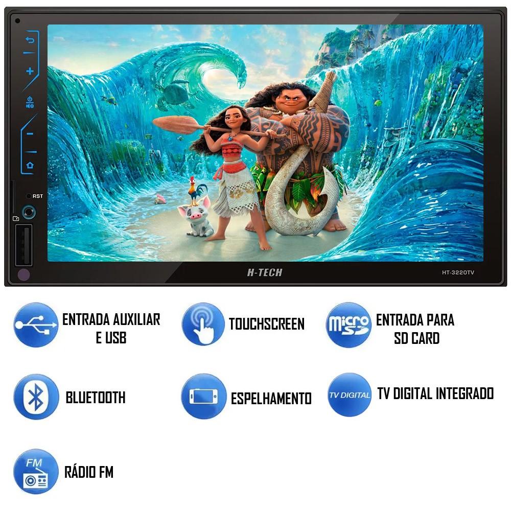 Multimídia MP5 H-Tech HT-3220TV TV Digital Integrado Espelhamento Android IOS Bluetooth + Câmera de Ré