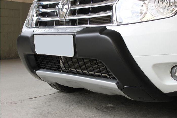 Overbumper Protetor Frontal Renault Duster 2012 2013 2014 Sem Alojamento Para Farol de Milha - Preto com Prata