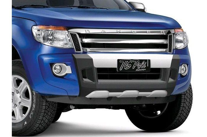 Overbumper Protetor Frontal Ford Nova Ranger 2012 2013 2014 2015 - Preto com Prata