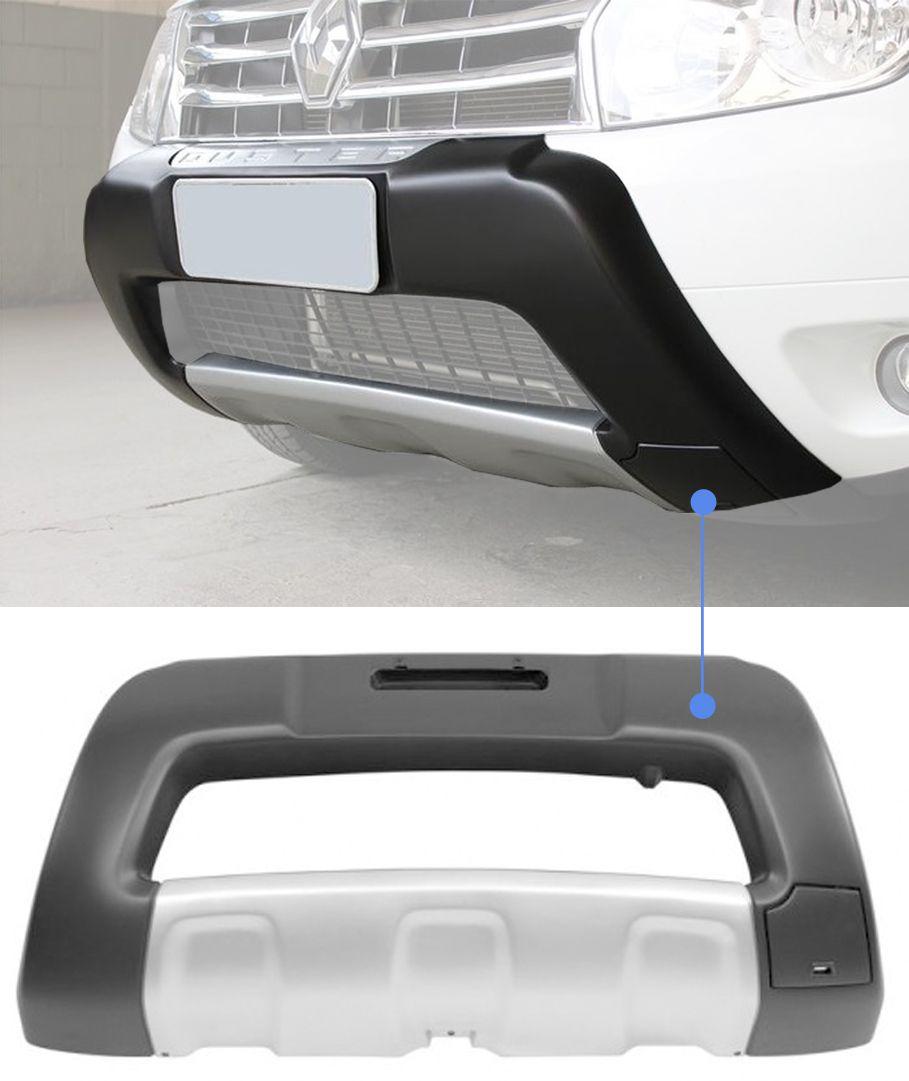 Overbumper Protetor Frontal Renault Duster 2012 2013 2014 Sem Alojamento Para Farol de Milha - Cinza com Prata
