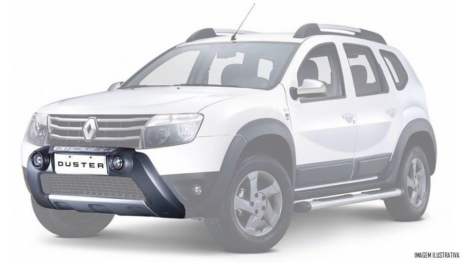 Overbumper Protetor Frontal TG Poli Renault Duster 2012 2013 2014 Com Alojamento Para Farol de Milha - Preto Com Prata Aluminium ou Cinza Com Prata Aluminium