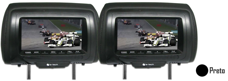 Par Encosto / Descanso De Cabeça E-Tech - Universal - Couro Tela LCD 7´ - 2 Peças