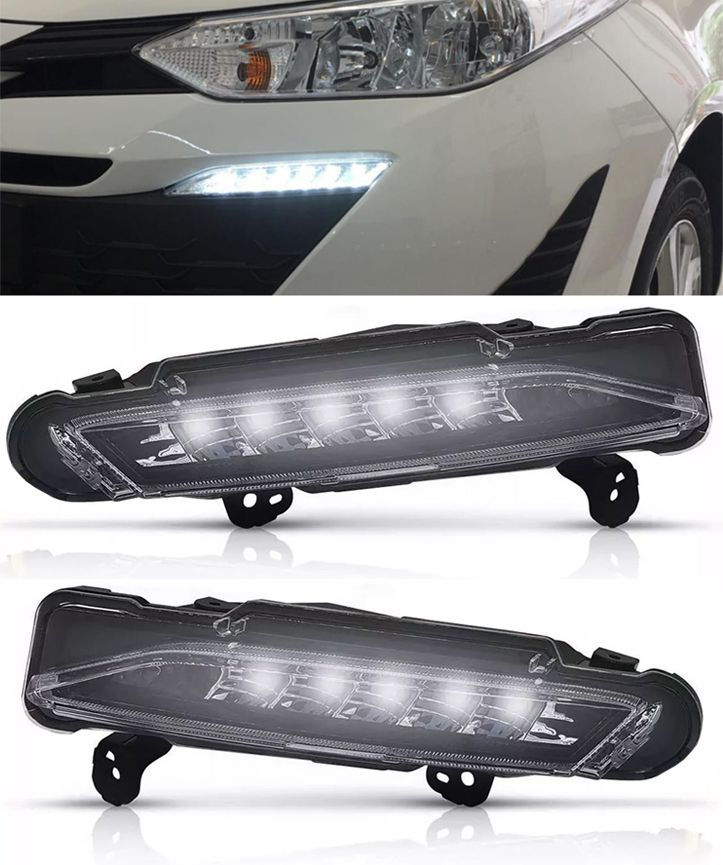 Par LED DRL Daylight Toyota Yaris Hatch e Sedan