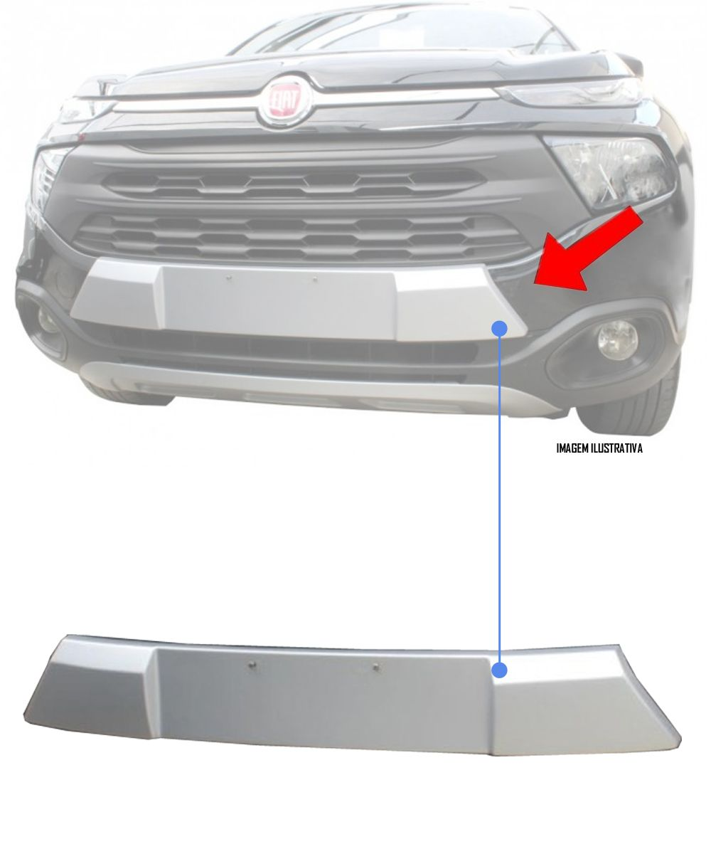 Protetor Superior Dianteiro TG Poli Fiat Toro 2016 2017 2018 2019 - Prata Aluminium