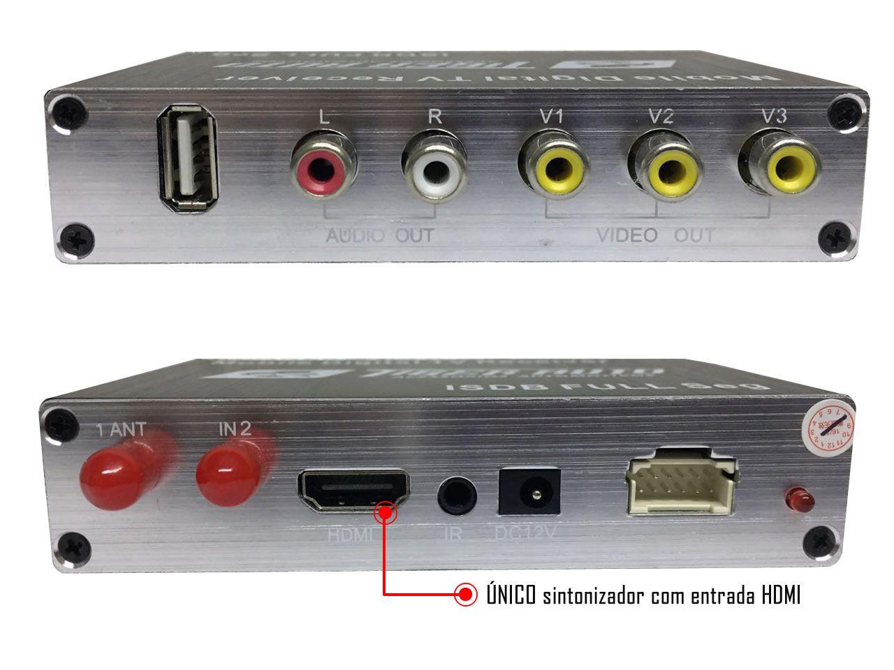 Sintonizador e Receptor Automotivo TV Digital Tiger Full HD Com Entrada HDMI- Universal