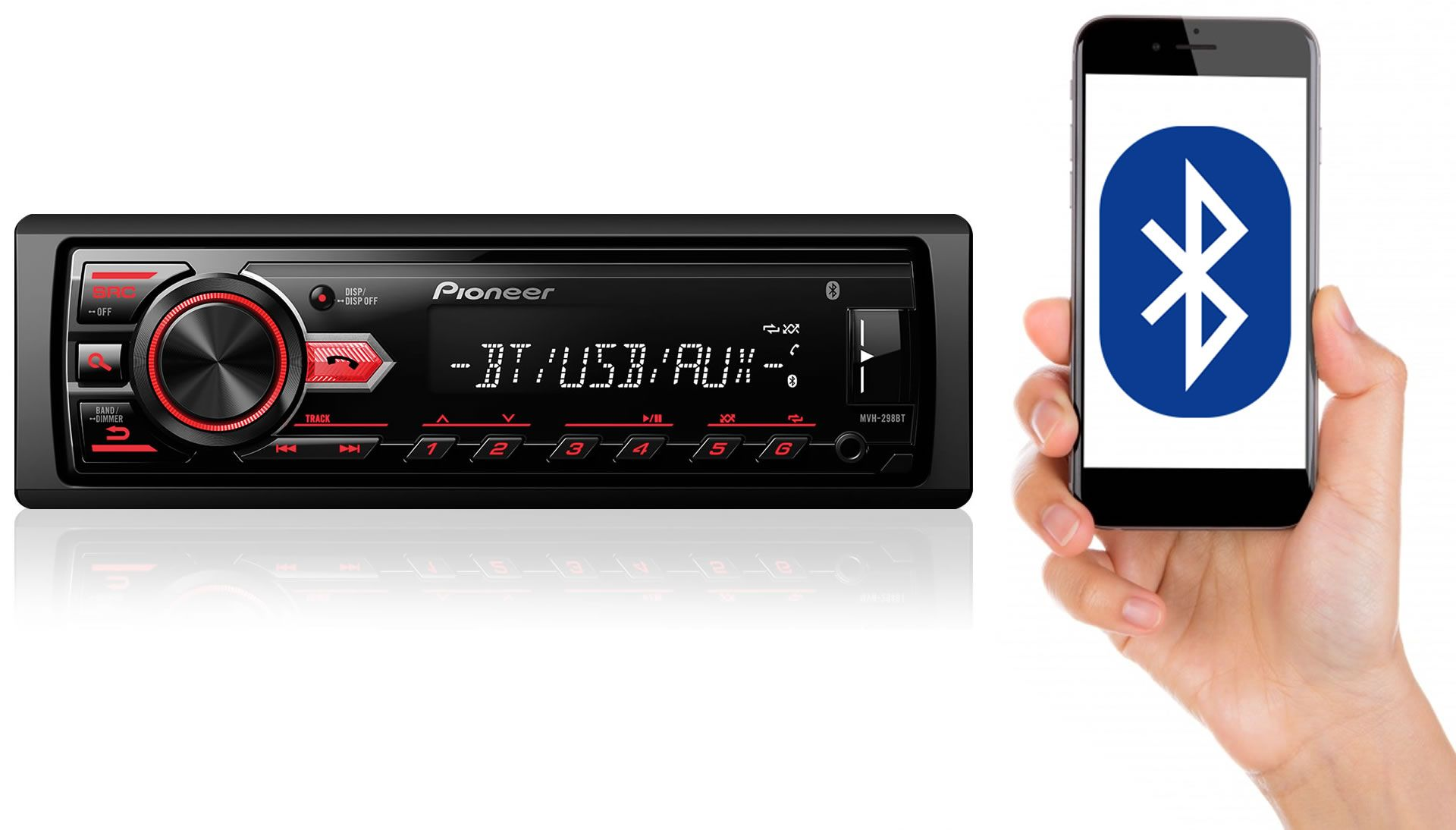 Som Automotivo Media Receiver Pioneer MVH-298BT Com Bluetooth, Entrada USB, Entrada Auxiliar