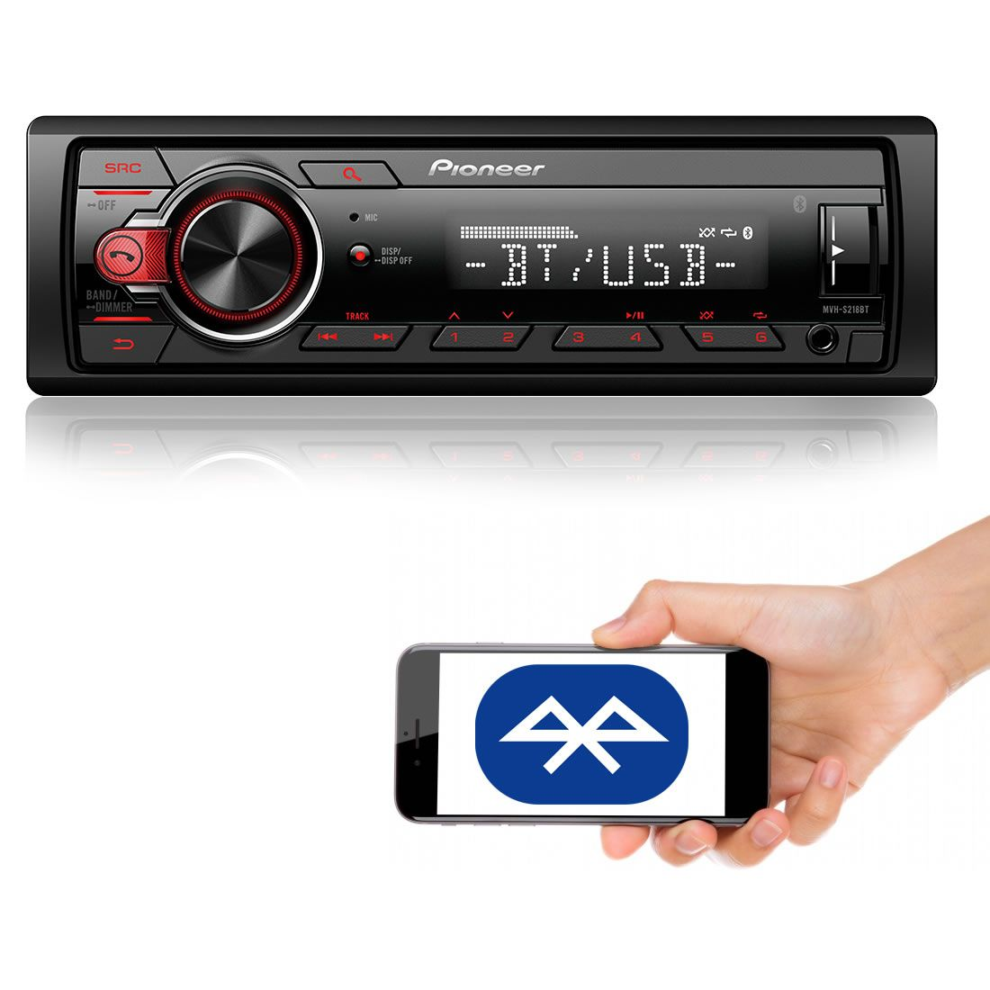 Som Automotivo Media Receiver Pioneer MVH-S218BT Com Bluetooth, Entrada USB, Entrada Auxiliar