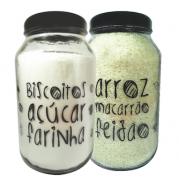 Kit Potes 3 lts Linha Grafite - Açúcar/Biscoito/Farinha/Macarrão/Arroz/Feijão