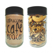 Kit Potes 800ml Linha Grafite - Biscoitos/Doces/Cappuccino/Açucar/Café
