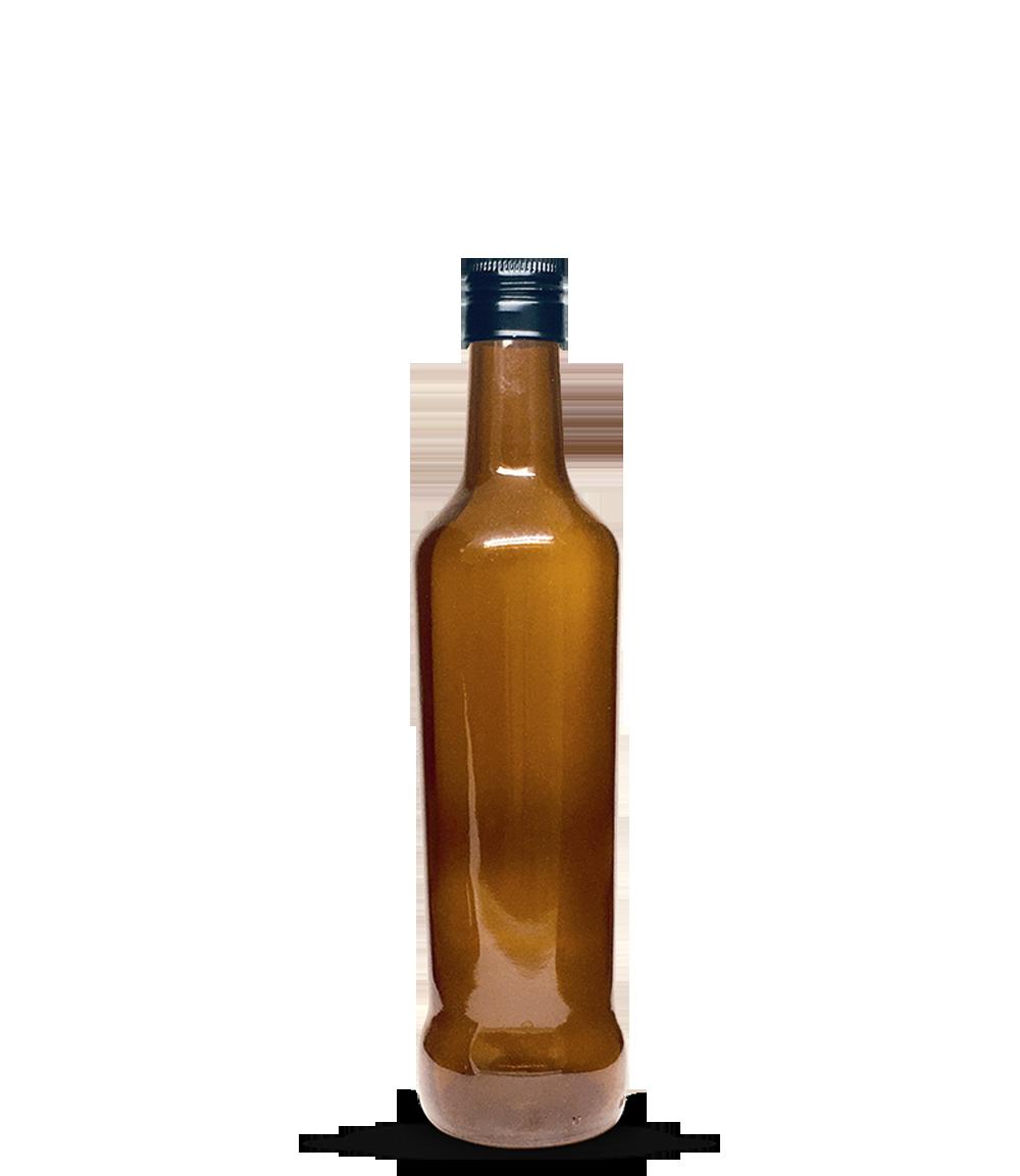 Garrafa Marrom Vinagre Redondo Grande 500 ml (caixa c/ 24)