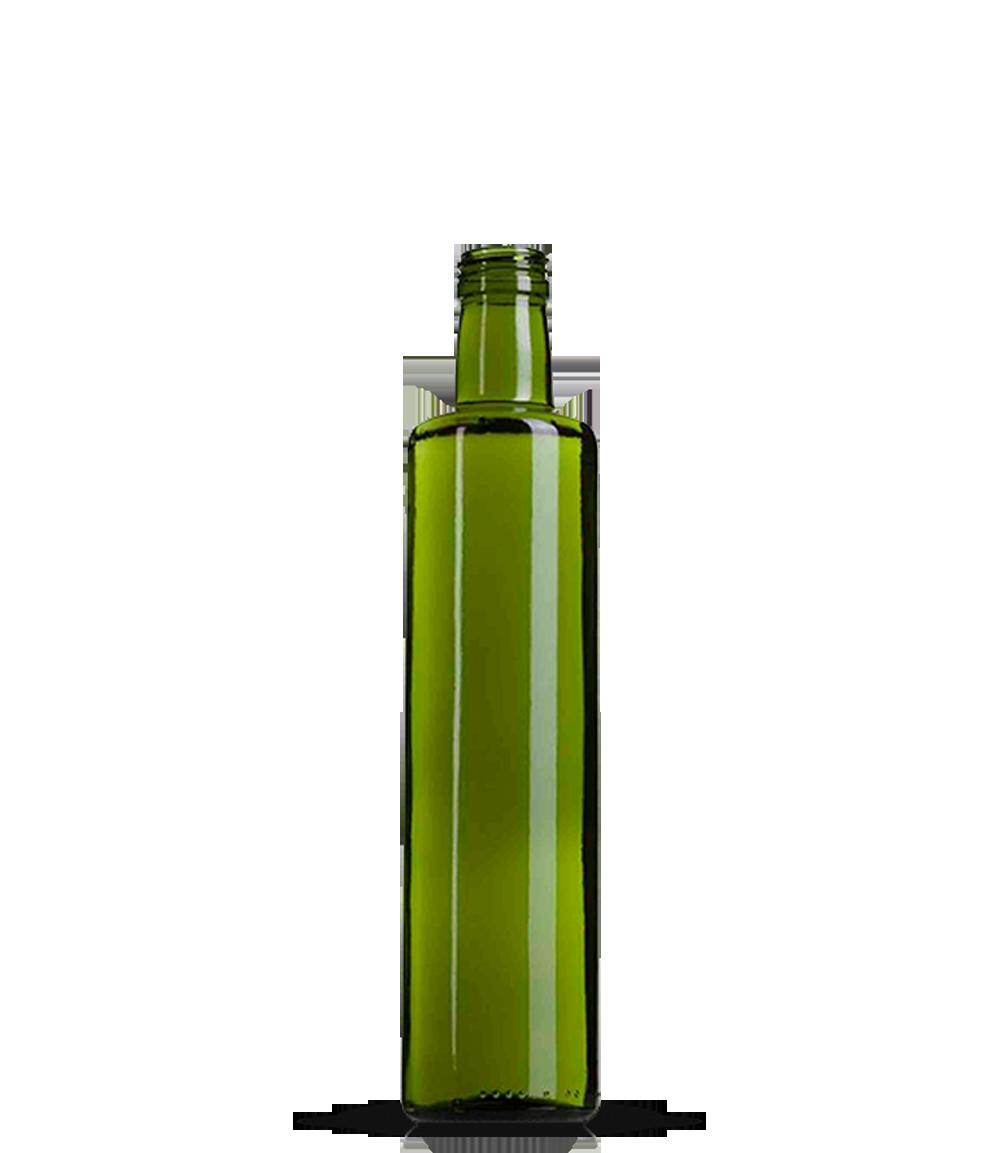 Garrafa Verde Azeite Redondo grande 500 ml (caixa c/ 24)
