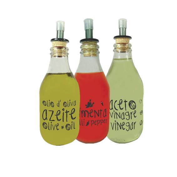Kit Galheteiros 200ml Linha Grafite - Azeite/Pimenta/Vinagre
